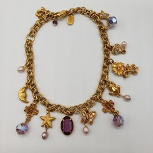 Kirks Folly Gold Tone Charm Bracelet.